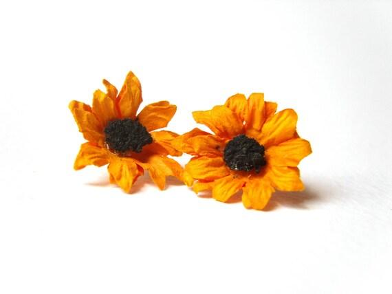 Sunflower Stud Earrings, Flower Earrings, Sunflower Jewelry, Under 15