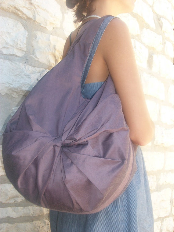 Twisted // Tote // Hand bag // Shoulder bag // Cotton // Purple // Medium // Gift for her // OOAK //