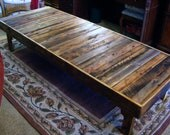 """Extra Large Rustic Reclaimed Wood Coffee Table Dining Table or Desk 72"""" x 30"""" x 17"""" high Use Outdoors or Indoors"""