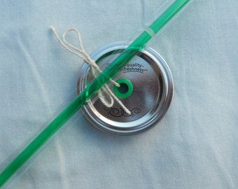 Mason Jar Drink Lid and Straw - Green Grommet and Matching Straw - Create your own Mason Jar Tumbler