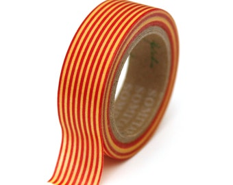 Washi Tape - Red and Yellow Stripe - 15mm x 10m - TP122
