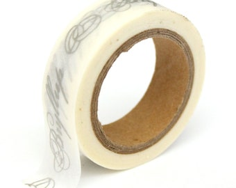 "SALE Washi Tape - Silver Foil ""Bryllup"" - 15mmx10m - 1 Roll - Ships IMMEDIATELY from California - TP158"
