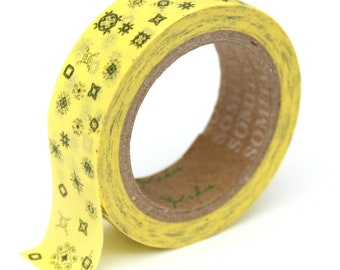 Washi Tape Yellow Doodles - 15mm x 10m - TP212