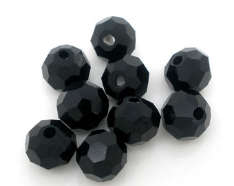 SALE Black Beads - Crystal Quartz 5000 - Faceted - 8mm - 10pc - Ships IMMEDIATELY from California - B351