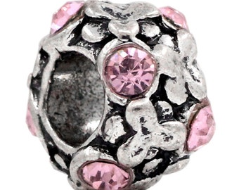 SALE 3 Pink Rhinestone Beads Silver 11mm -  Ships IMMEDIATELY from California - B736