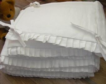Linen Crib Bumper White ECO