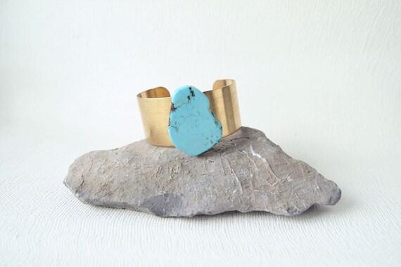 Turquoise Cuff : Summer Jewelry - Raw Turquoise Slab Statement Cuff