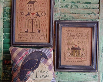 The Country Cupboard Primitive Folk Art Stitchery Sampler and Crow Pillow Craft Sewing Pattern Home Decor