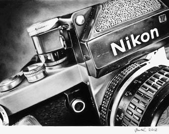 """PRINT-Drawing-Nikon F2, 11"""" x 8,5"""""""