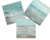 Mint Green Bathroom Decor, Square Beach Three Print Set, Seafoam Photography, Coastal Wall Art, 8x8 Photos, Ocean Art Collection