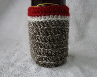 Sock Monkey theme Beer Soda Bottle Cozy red brown white