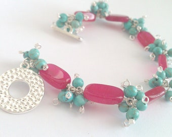 Touch of Southwest, Red Aventurine and Turquoise Cluster Bracelet
