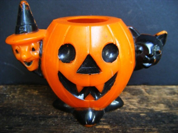 Vintage 1950's Halloween Candy Container, Witch and Black Cat and Jack-o-lantern