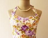 50% OFF Sale -Purple Floral Sundress Vintage Style Floral Bridesmaid Dress Tea Party Dress Retro Rockabilly Dress Summer Dress