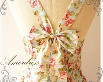 SWEETEST SPELL: [Floral Prom Dress],[Floral Bridesmaid Dress],Floral Party Dress Floral Summer Dress Shabby Chic Dress -Size xs-xl,custom