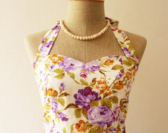 Purple Floral Sundress Vintage Style Floral Bridesmaid Dress Tea Party Dress Retro Rockabilly Dress Summer Dress