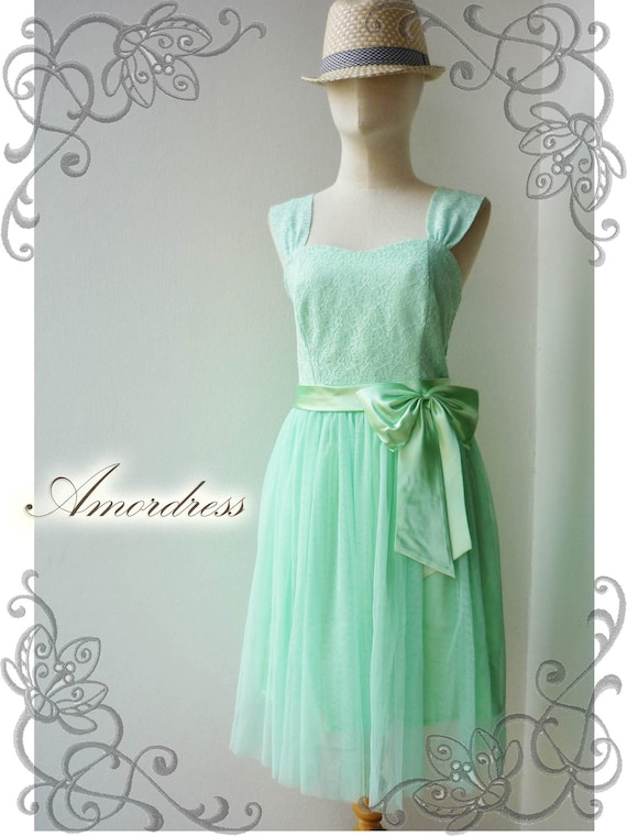 FREE SHIP TODAY--Amor Vintage Inspired- Princess Romance-Gorgeous Lace Dress in Green Shade for Wedding, Prom, Any -Fit S-M-
