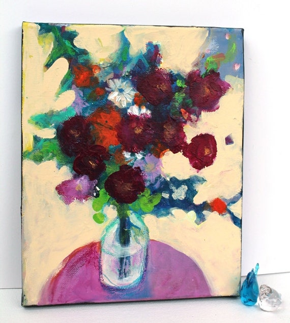 "Reserved for Brigitta Abstract Floral Still Life Painting Small Canvas Colorful ""Summer's Bouquet"""