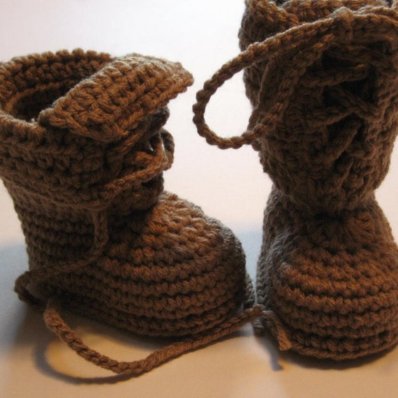 Items similar to Crochet baby booties. Lace up work boots ...