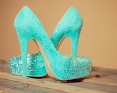 Tiffany blue wedding shoes, swarovski rhinestone bridal high heels