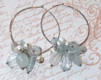 Hammered Sterling, Silver Hoops, Faceted Aquamarine, Pastel Aqua Pearls, Hand Hammered, Silver and Pearl, Pearl Hoops, Aquamarine Hoops