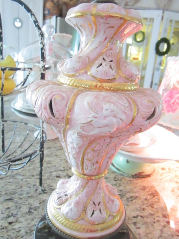 RESERVED for Lia Vintage French pink and gold lamp with  cherubs
