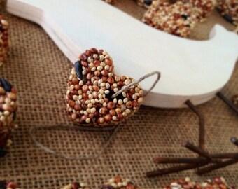 48 petite bird seed hearts - birdseed wedding favor, love birds, DIY assembly, super saver, wedding favors