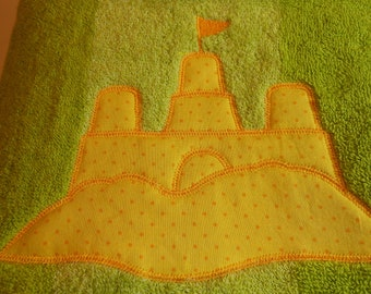 Kids Personalized Beach Towel -Sandcastle Applique