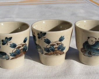 Set of Three Vintage Saki Cups Grey Speck with Blue Butterfly