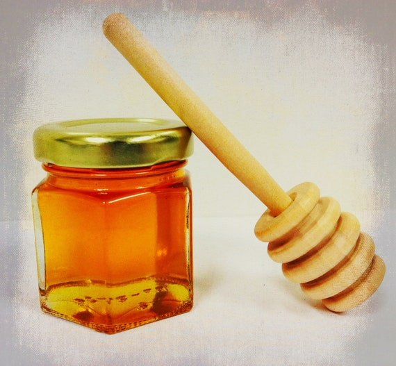 """24 Qty mini honey jars with gold lid and 4"""" wood dipper"""