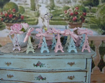Dollhouse Miniature Eiffel Tower - Your choice Shabby Pink, Mint Green, or Seafoam