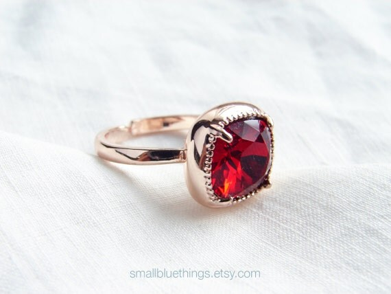 Swarovski Cushion Cut  Siam Red Solitaire Pink Gold Ring. Valentine Day Gift. Jewelry under 25. Simple Modern Jewelry