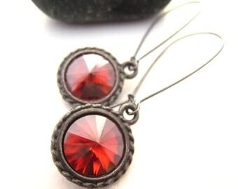 Swarovski Crystal Earrings Crystal Earrings Red Jewelry Gifts Under 20 Modern Drop Earrings Gunmetal Fall Style Trends Gift Idea For Her