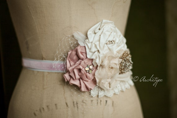 Romance Sash- Wedding Rosette Belt Sash for bridesmaids and bride- The Eliana Rose