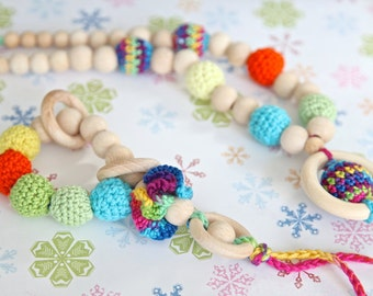 Set of 2. Teething ring toy and nursing necklace. Multicolor rattle for baby and mom