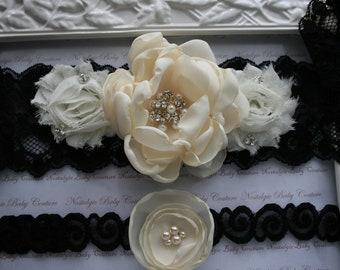 Black Lace and Ivory Bridal Garter Set with Handmade Swarovski Pearl Brooch