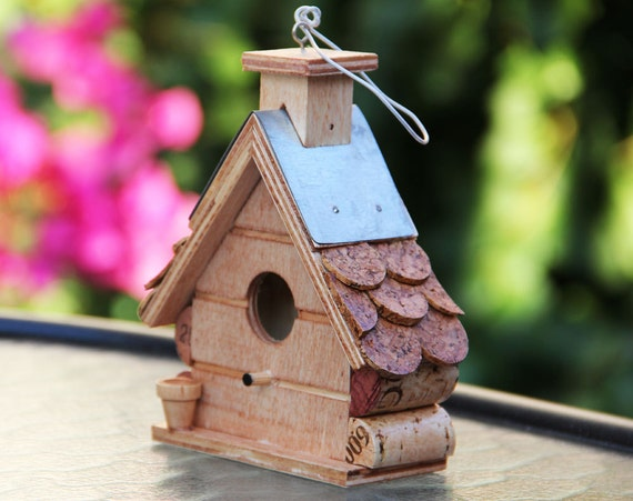 Small Tin Roof Birdhouse, wine corks ,wood, tin