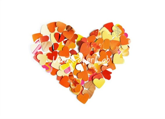 Little orange, yellow and red hearts punches confetti - choose the quantity