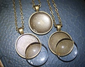 10 Complete DIY Pendant Necklace Kits - 25 mm 1 inch Round Blank Pendant with Matching Glass and Necklaces - Antique Bronze