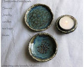 Hand crafted 3 Little Blue Bowl set
