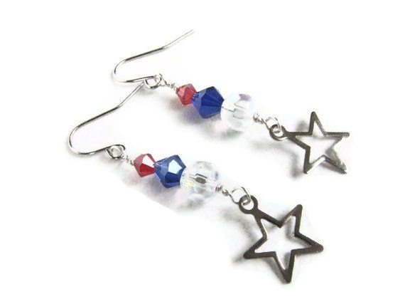 4th of July Earrings, Paris Red White and Blue Solidarity Jewelry, Star Earrings, Patriotic Jewelry