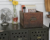 Industrial Wooden Drawer with Brass Handle