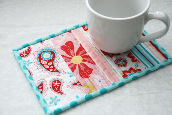 mug rug red turquoise paisley by littlebughouse on etsy. Black Bedroom Furniture Sets. Home Design Ideas