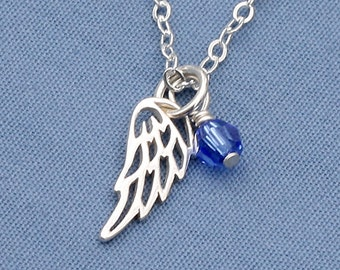 Angel Wing Necklace,Birthstone,Sterling Silver,Swarovski Crystal, Personalized,Small,Tiny,Petite,Memorial Neckalce,Faith,Everyday
