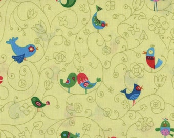 How Tweet It Is by Timeless Treasures, Bird Fabric, Green Fabric, Yellow Fabric, 01194