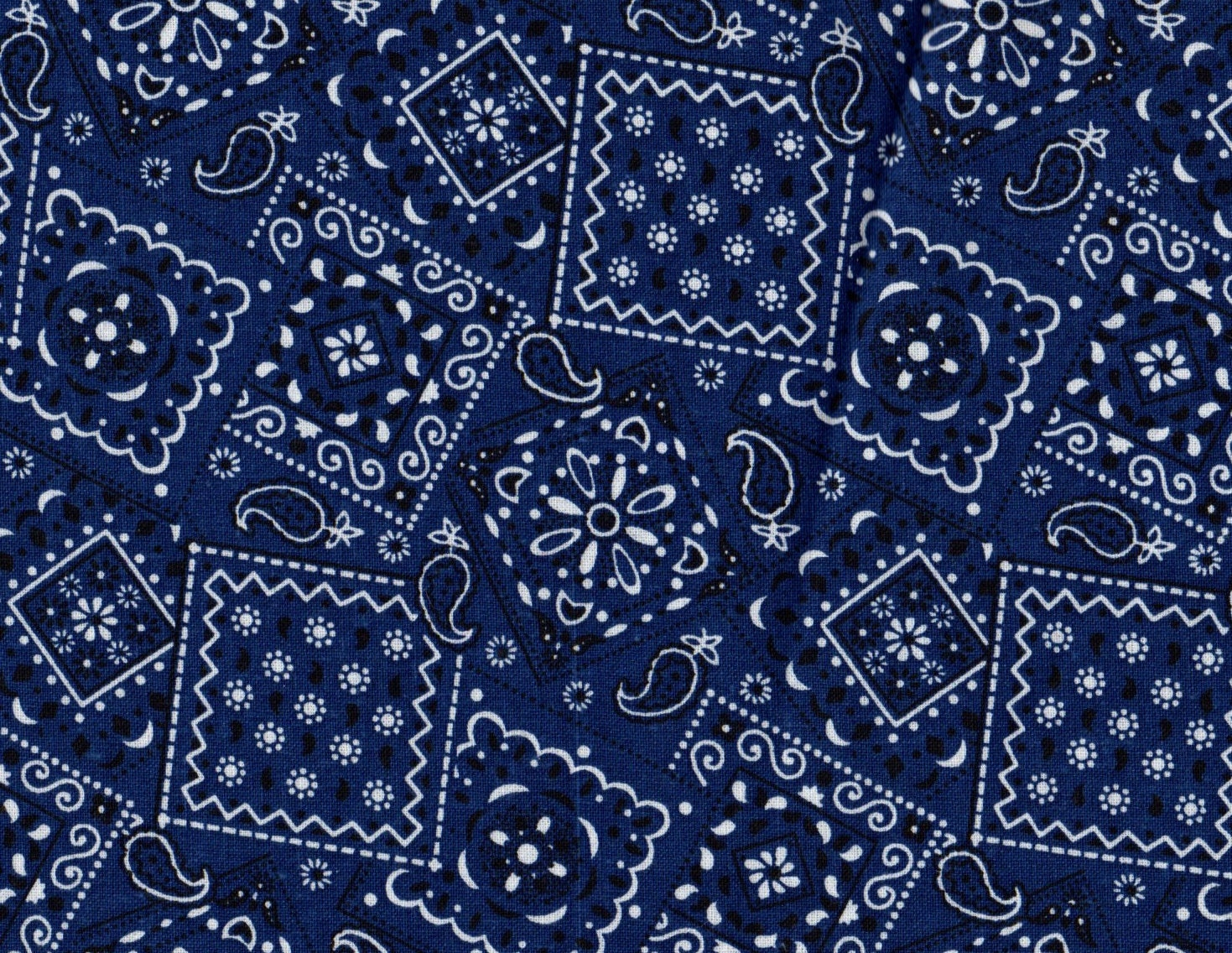 Navy Bandana Fabric Navy Blue Fabric By Thebusybeequilting