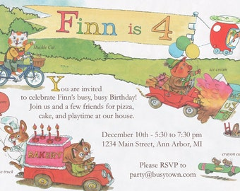 Digital Richard Scarry Busytown Birthday Invitation - 5 x 7
