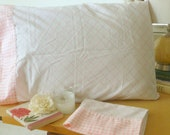 Vintage Set Two Pink and White Stadard Size Pillowcases