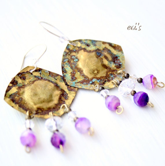 ON SALE-Handcrafted Eco Friendly Oxidized Blue Patina Brass Square Metalwork Chandelier Earrings with Purple Agate Beads Gift for Her