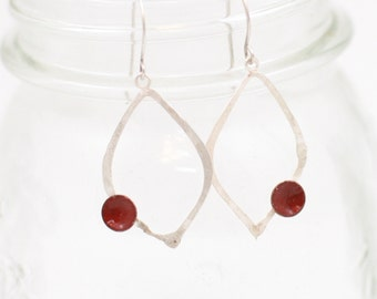 Red Enamel Dots on Sterling Silver Moroccan Earrings